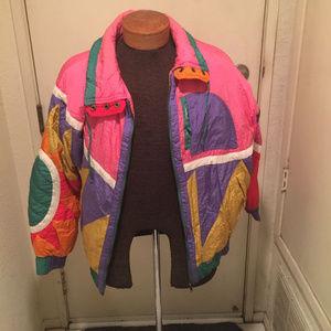 Jackets & Blazers - 80s Pink Purple Colorblock Ski Puffer Jacket